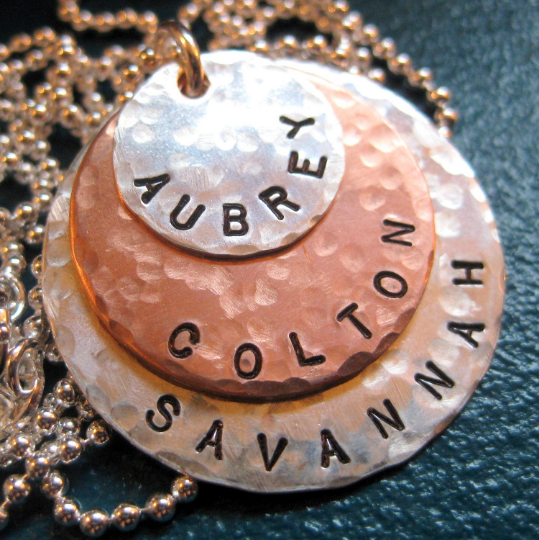 Personalized Handstamped Necklace with 3 LAYERS - Sterling Silver with Copper