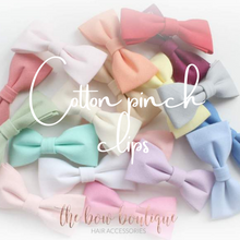 Load image into Gallery viewer, COTTON PINCH BOW CLIPS (20 COLOURS)