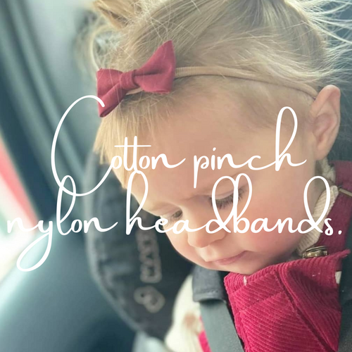 COTTON PINCH BOW NYLON HEADBANDS (22 COLOURS)