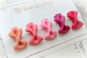 Pinks mini pinch bow clip set