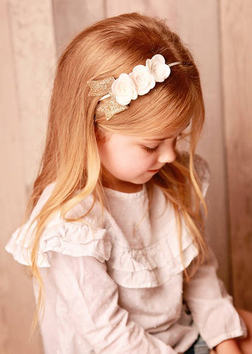Special flower headband with gold bow (8 Colours)