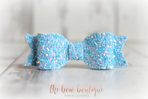 SMALL GLITTER BOW CLIPS (48 COLOURS)