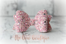 Load image into Gallery viewer, MEDIUM GLITTER BOW CLIPS (48 COLOURS)
