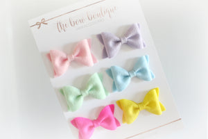 SET OF 6 SMALL LUXURY HAIR BOW CLIPS