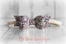 Load image into Gallery viewer, SMALL GLITTER NYLON BOW HEADBANDS (49 COLOURS)