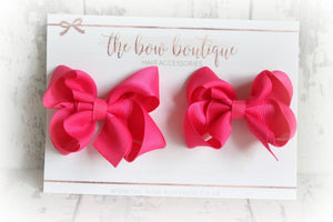RIBBON PIGTAIL BOW SETS (28 COLOURS)