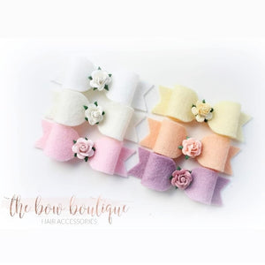 Small flower bow clips (9 Colours)