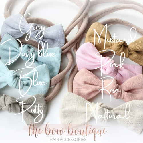 LINEN KNOT BOW NYLON HEADBAND (17 colours)