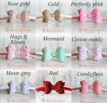 Load image into Gallery viewer, Mini deluxe glitter bow nylon headbands (43 Colours)