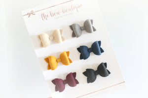 SET OF 6 MEDIUM DELUXE HAIR BOW CLIPS