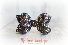 Load image into Gallery viewer, Mini deluxe glitter bow clips (43 Colours)
