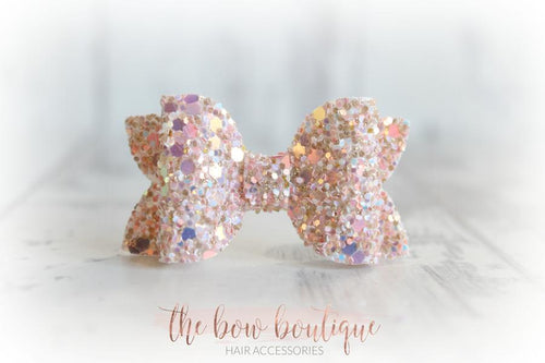 Mini deluxe glitter bow clips (43 Colours)