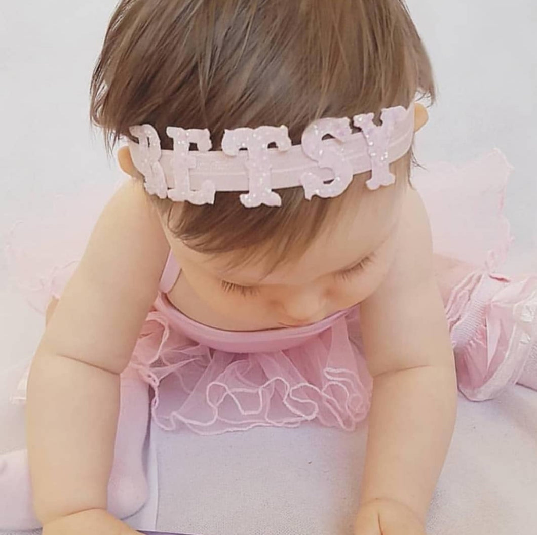 Pink personalised name headband