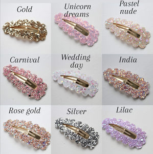 Glitter scalloped snappy clips - (44 Colours)