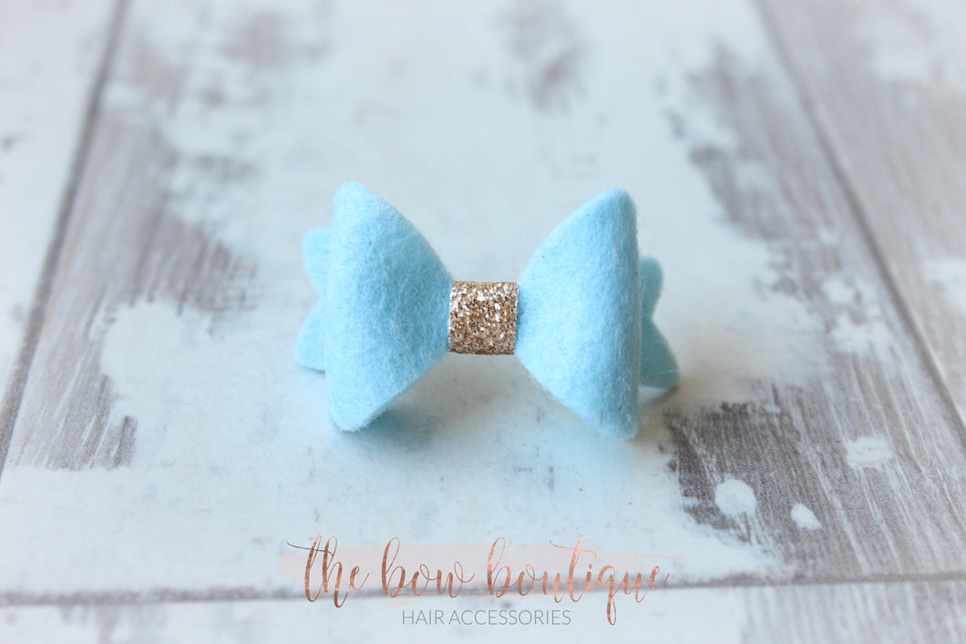 MINI BABY GOLD MIDDLE FELT CLIPS ( 28 COLOURS )