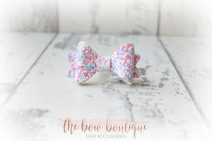 MINI BABY GLITTER BOW CLIPS (25 MIXED COLOURS)
