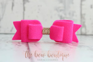 DOUBLE FELT BOW CLIPS WITH GOLD CENTRES (28 COLOURS)