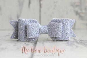 DOUBLE GLITTER BOW CLIPS (49 COLOURS)