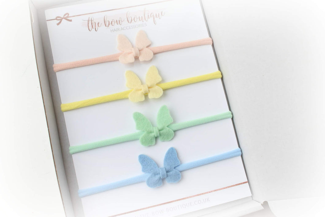 Set of 4 small butterfly headbands
