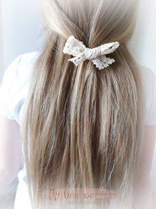 LACE HAND TIED HAIR BOW CLIP (3 COLOURS)