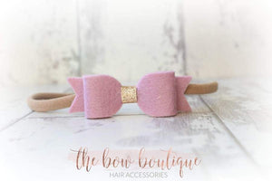 SMALL BOW WITH GOLD CENTRE NYLON VINTAGE HEADBANDS (10 COLOURS)