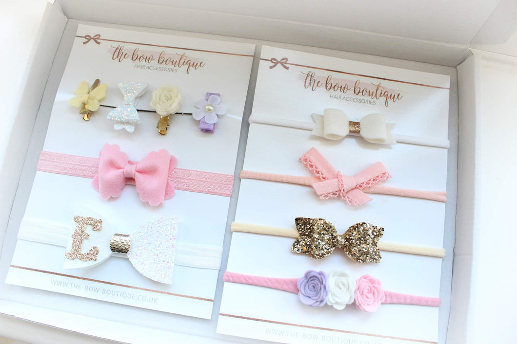 PERSONALSIED GIFT BOX OF FRINGE CLIPS & HEADBANDS