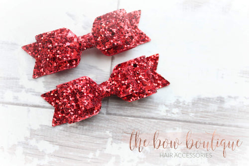 RED GLITTER PIGTAIL SET