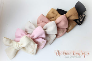 PERSONALISED LINEN SWEETHEART || CLIP OR HEADBAND