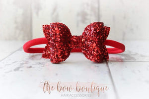 MEDIUM DELUXE GLITTER NYLON BOW HEADBANDS (50 COLOURS)