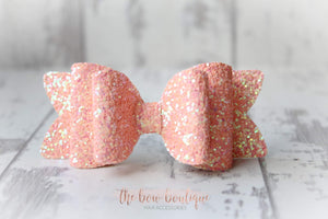 Chunky double glitter bow clips (43 Colours)