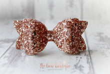 Load image into Gallery viewer, Chunky double glitter bow clips (43 Colours)