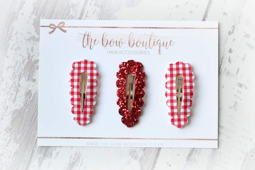 Red gingham set of 3 snappy clips