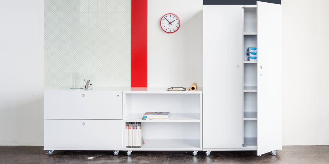 Modern storage solutions come in many different colors. Shown in white here.
