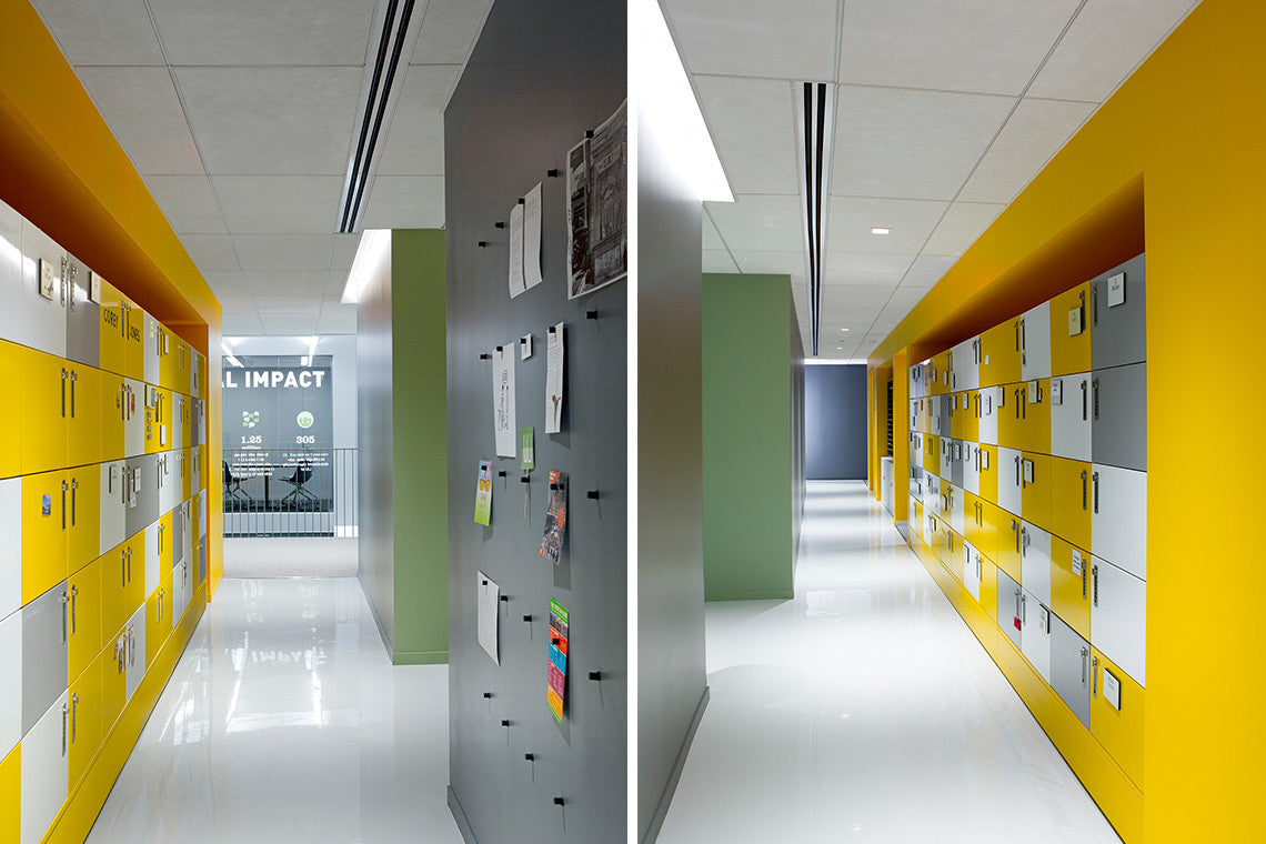 Heartwork Building Block Secure Modern digital lockers and locker wall for the Urban land Institute.