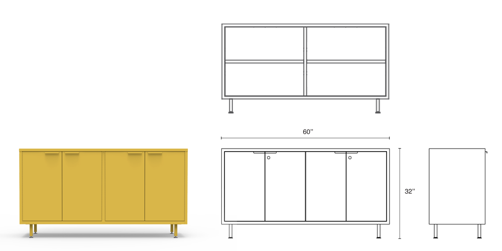 The yellow tall modern office credenza comes with steel legs, adjustable shelves, secure lock options and integrated cable passages.
