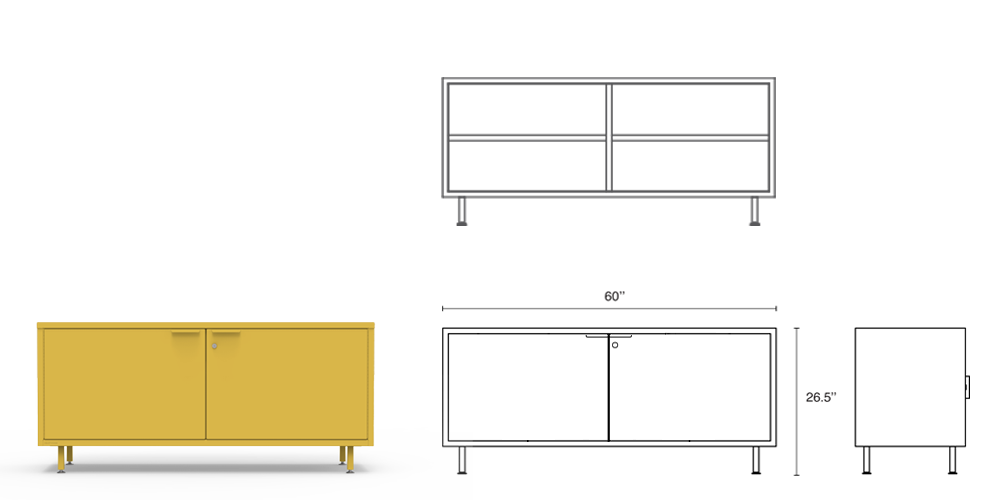 The yellow modern office credenza comes with steel legs, adjustable shelves, secure lock options and integrated cable passages.