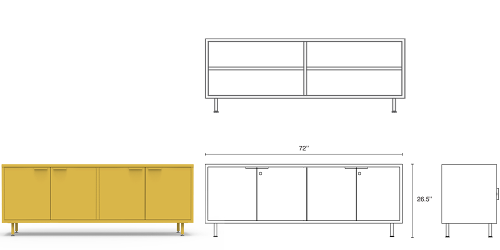 The Heartwork yellow wide modern office credenza comes with steel legs, adjustable shelves, secure lock options and integrated cable passages.