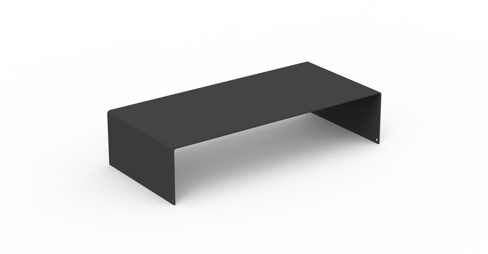 Heartwork modern monitor stand and riser in black.