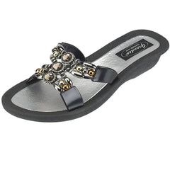 Grandco Sandals - Black Jeweled Sandals