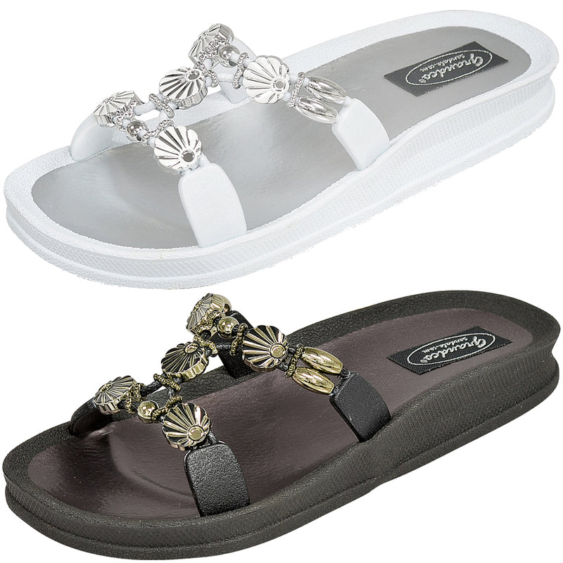 Grandco Sandals Sea Shell Slide - Jeweled Sandals