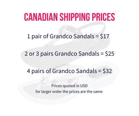 Grandco Sandal Shipping Rates for Canada