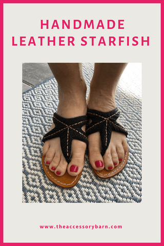 Handmade Leather Sandals in Starfish Design