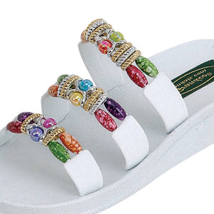 Grandco Sandals Classic 3 Band Slide 22589 - White Close Up