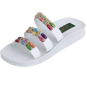 Grandco Sandals Classic 3 Band Slide 22589 - White