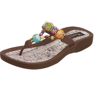Grandco Sandals - Marble Cork 24770G in Brown