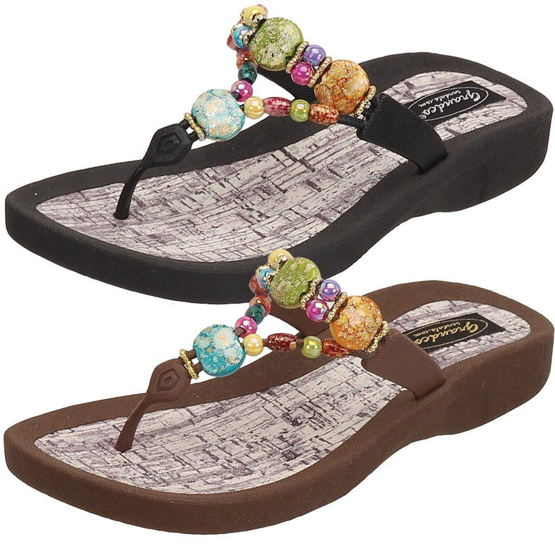 Grandco Sandals - Marble Cork 24770G in Black & Brown