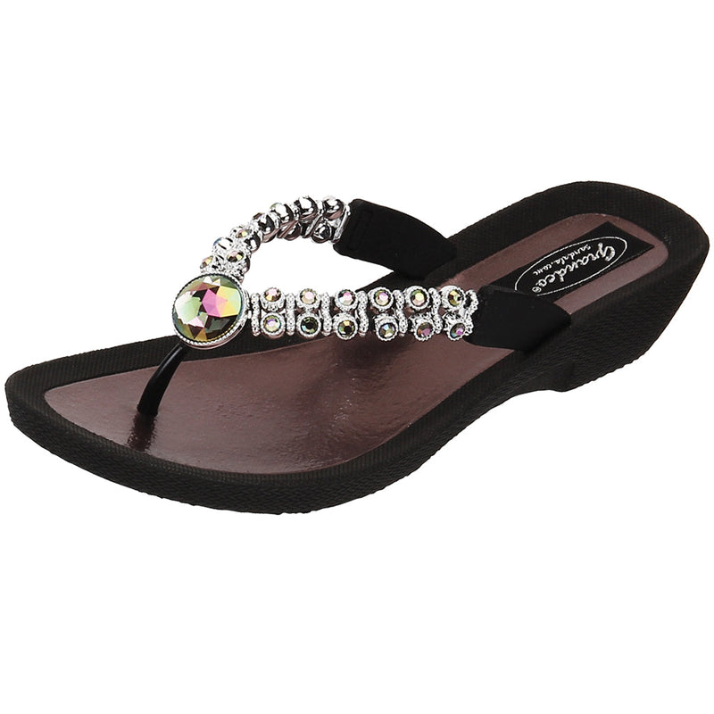 Grandco Sandals Rhinestone 24801E - Black & White Jeweled Sandals