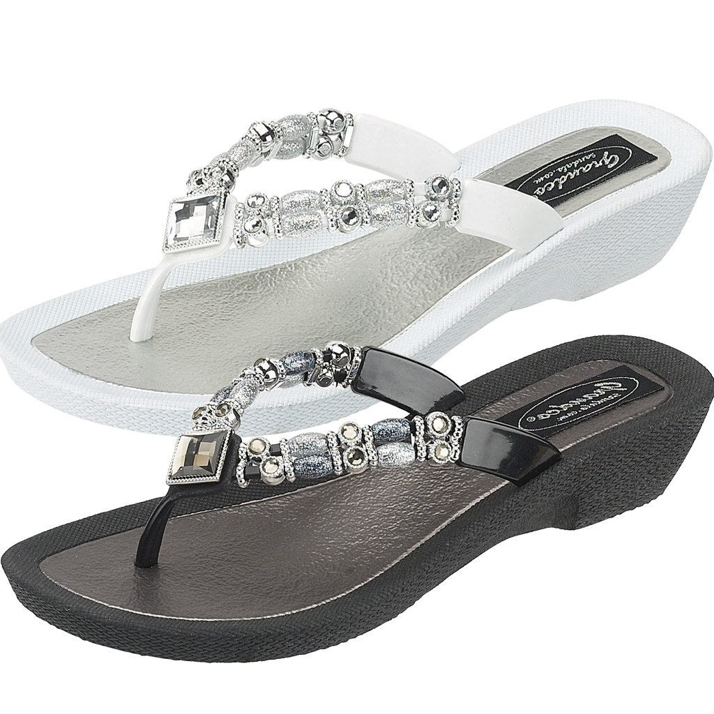 054ad5c2a542 Grandco Ladies Palm Leaf Jewels Low Heel Thong Sandal Black Navy or White  26801P