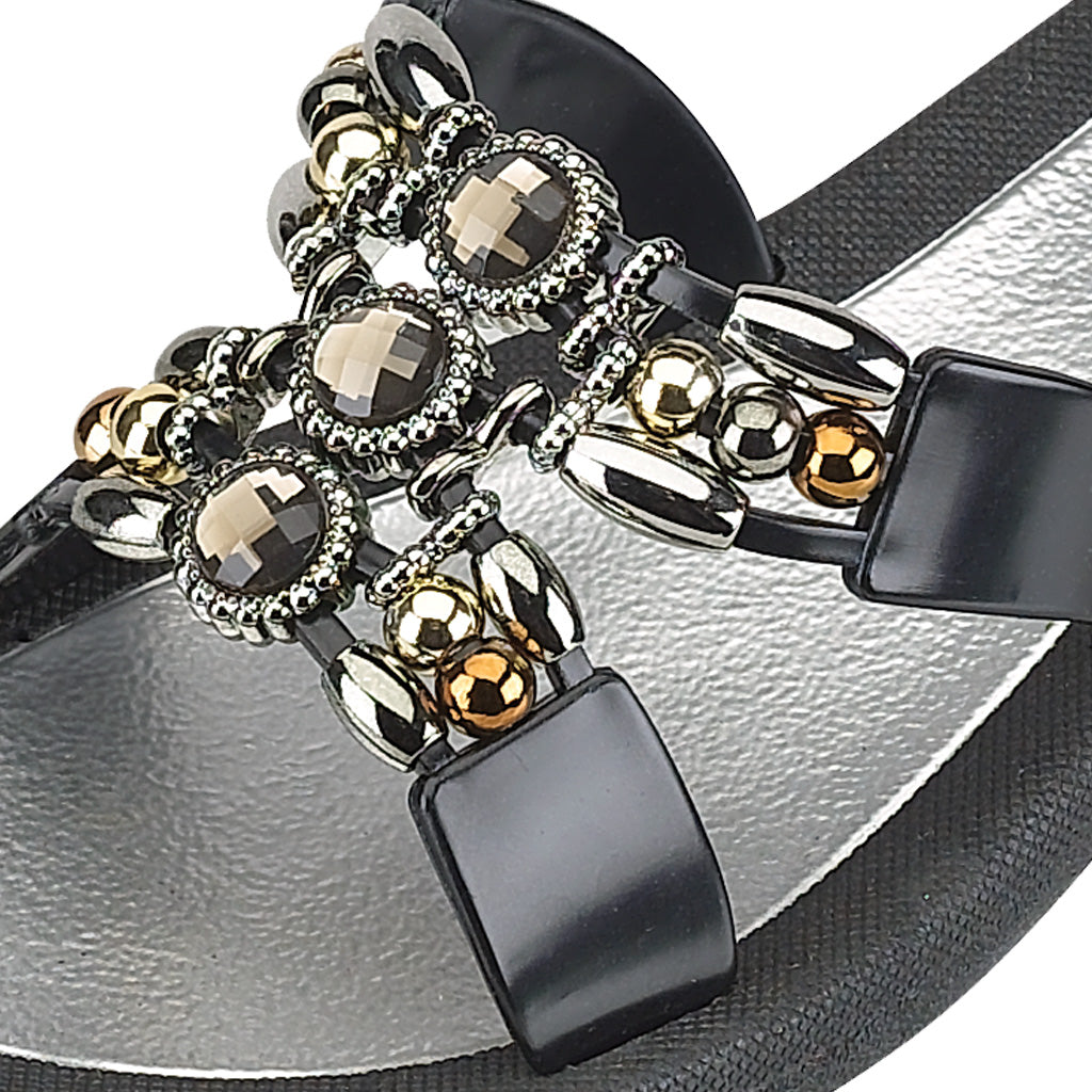 Grandco Sandals Lady Q 25764E - Black Close Up