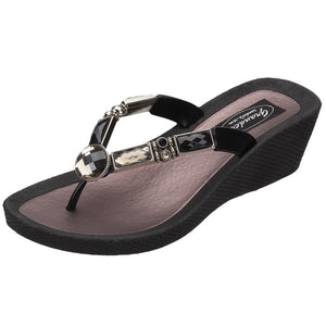 Grandco Sandals Bamboo Wedge 26255E- Black Sole
